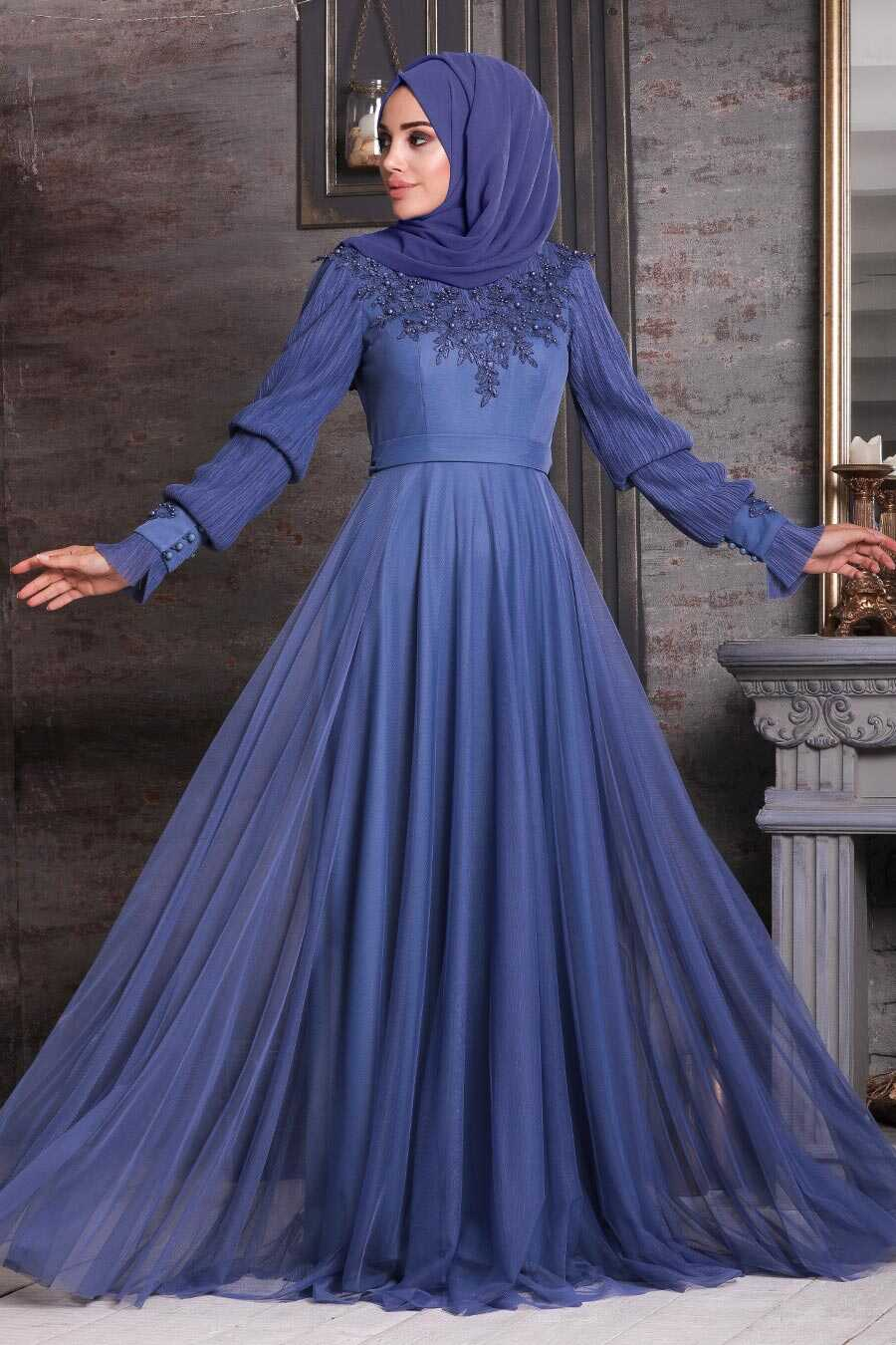 İndigo Blue Hijab Evening Dress 21780IM
