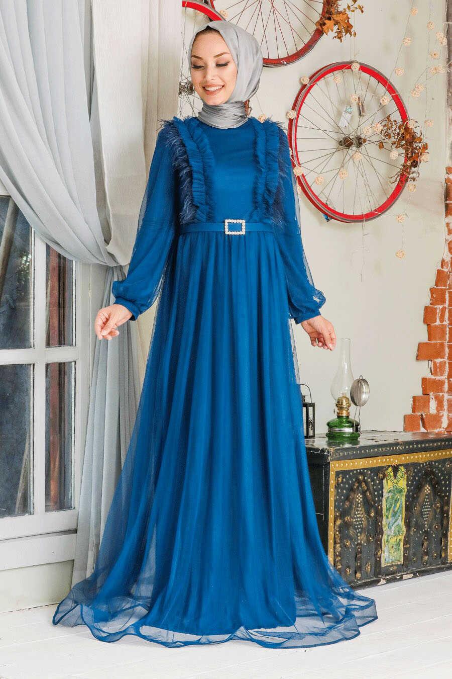 İndigo Blue Hijab Evening Dress 34801IM