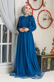 İndigo Blue Hijab Evening Dress 34801IM - Thumbnail