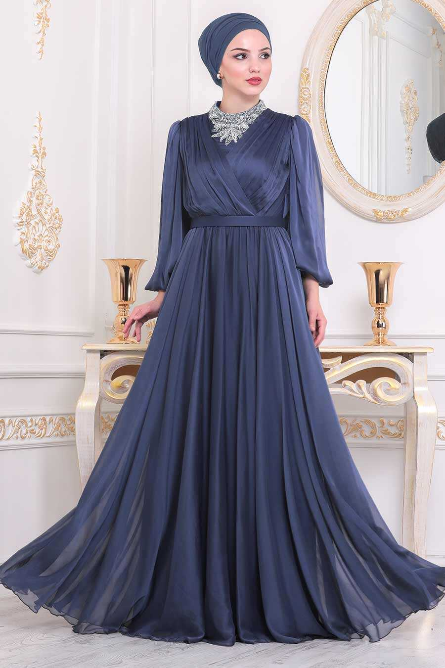 İndigo Blue Hijab Evening Dress 40550IM