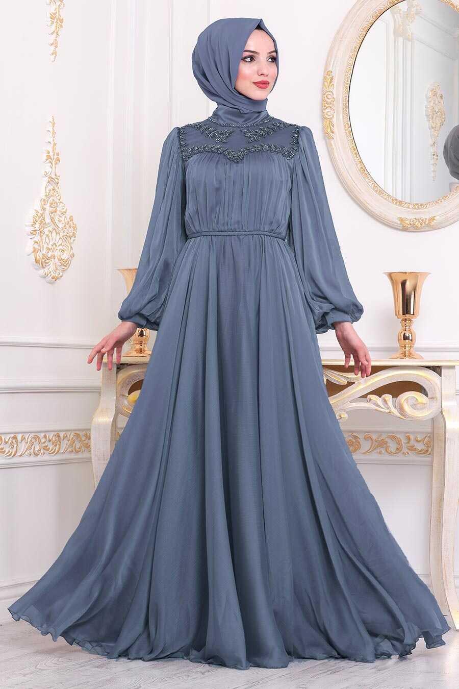 İndigo Blue Hijab Evening Dress 40560IM