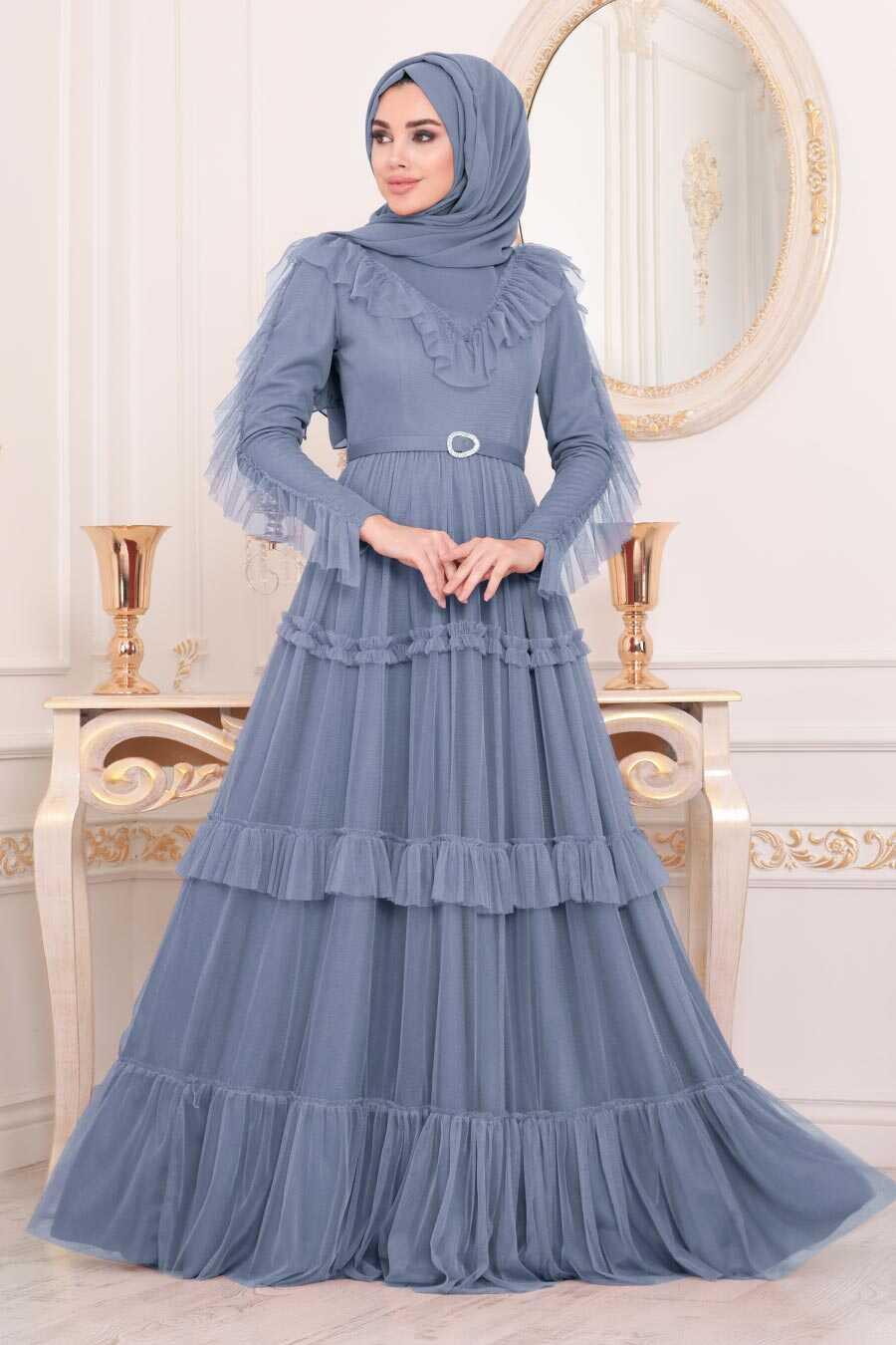 İndigo Blue Hijab Evening Dress 4097IM