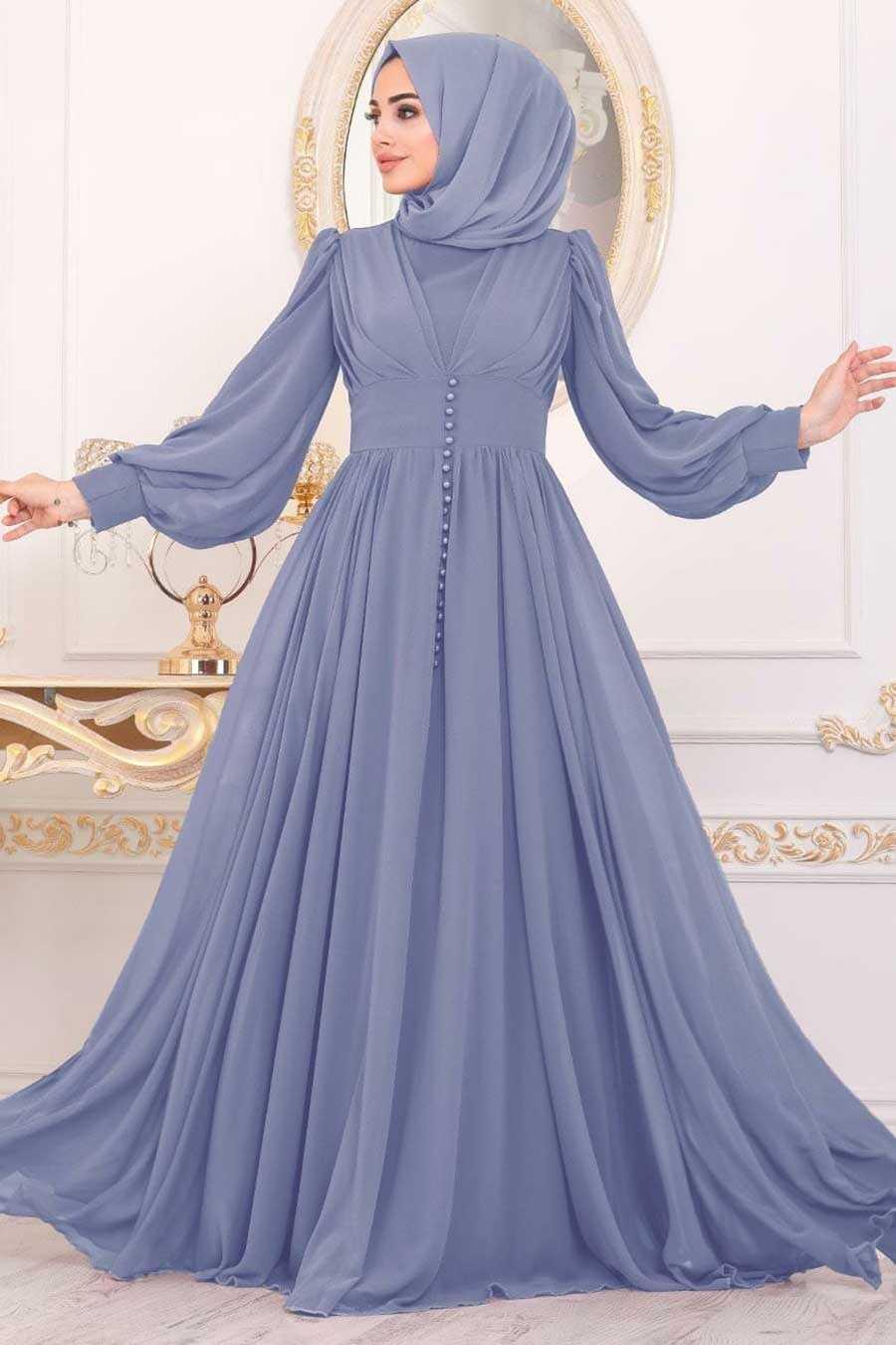 İndigo Blue Hijab Evening Dress 41011IM