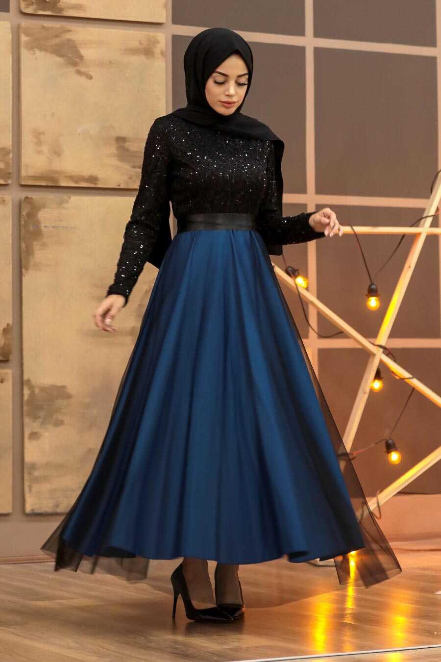 İndigo Blue Hijab Evening Dress 50040IM