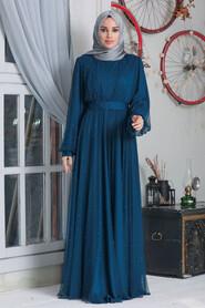 İndigo Blue Hijab Evening Dress 50080IM - Thumbnail