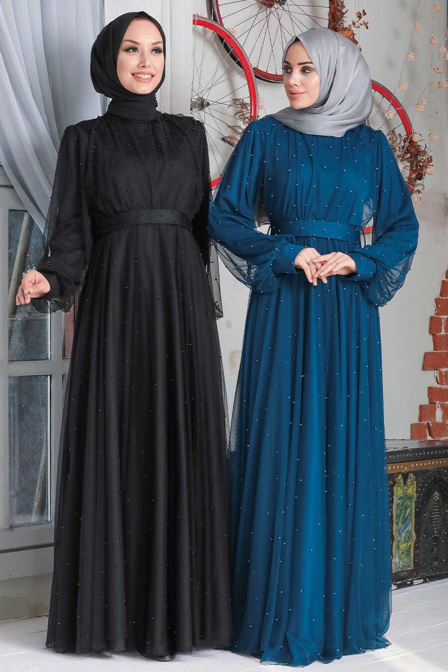İndigo Blue Hijab Evening Dress 50080IM
