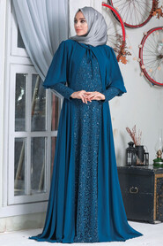 İndigo Blue Hijab Evening Dress 50090IM - Thumbnail