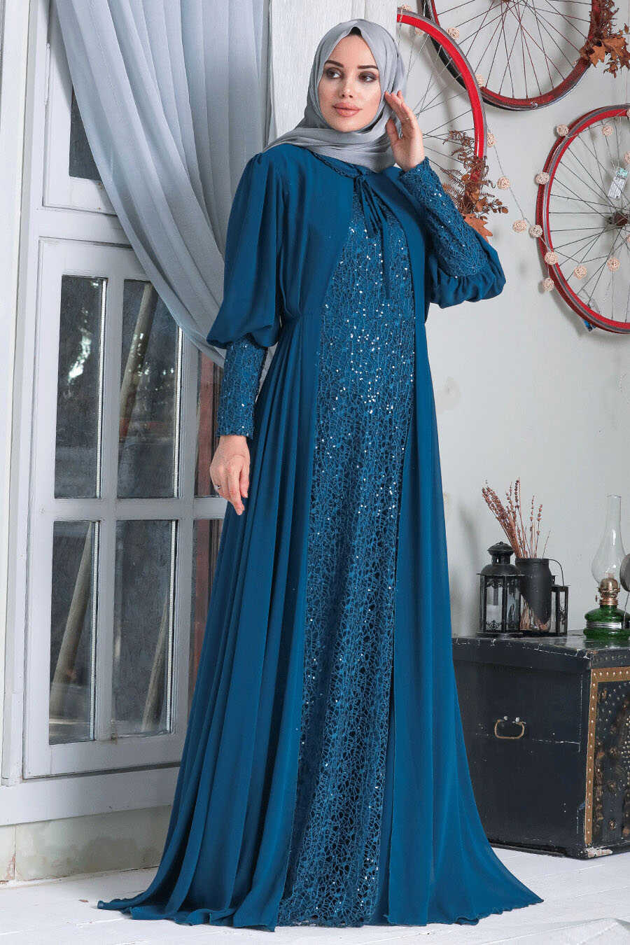 İndigo Blue Hijab Evening Dress 50090IM