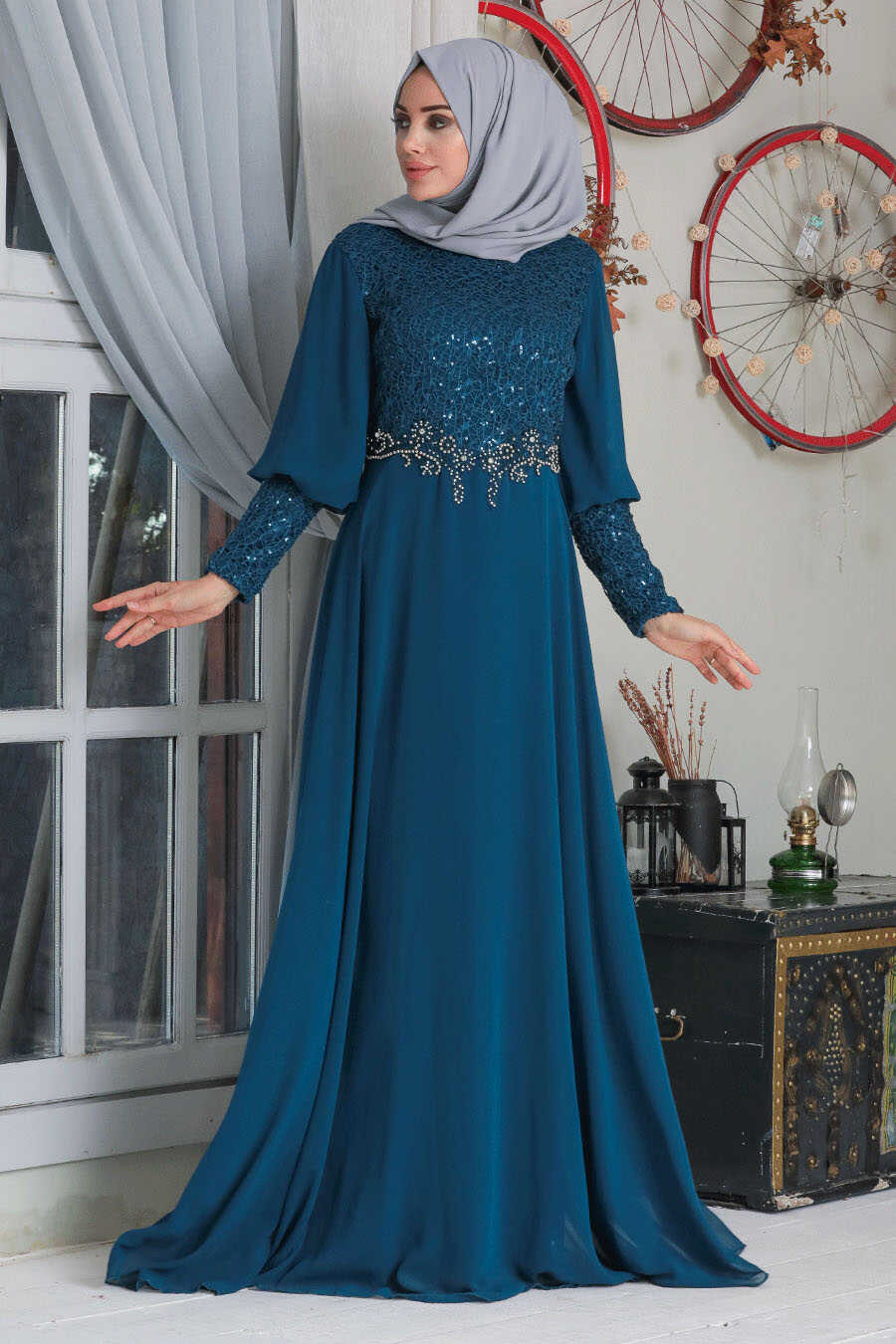 İndigo Blue Hijab Evening Dress 50102IM