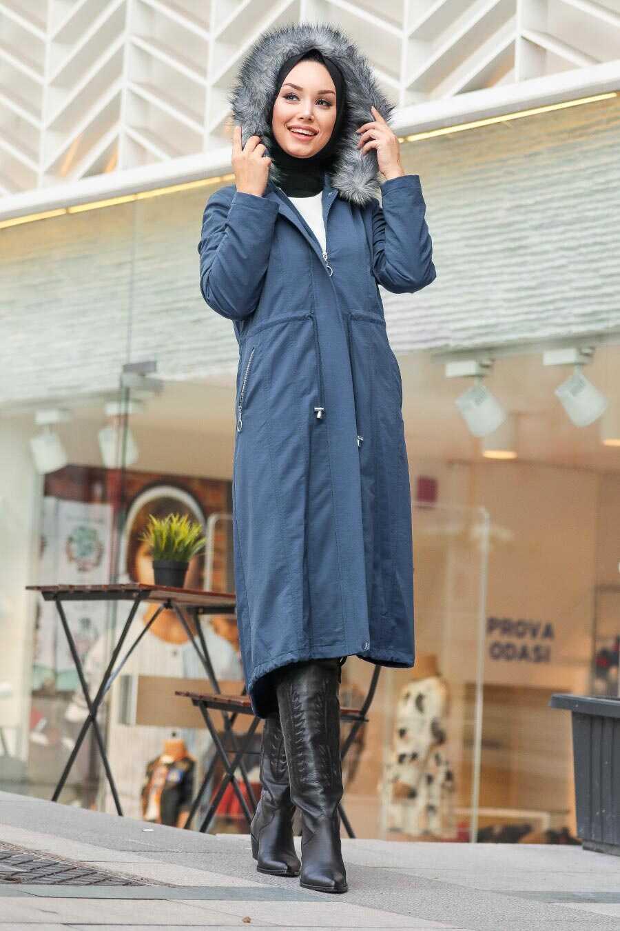 İndigo Blue Hijab Parka Coat 90680IM