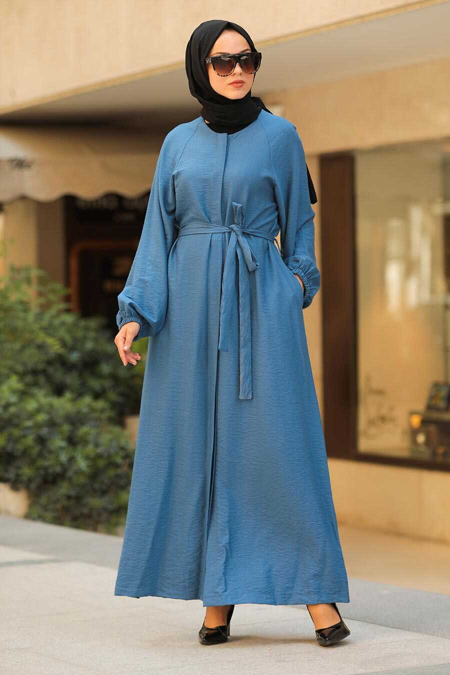 Indıgo Blue Hijab Turkish Abaya 40921IM