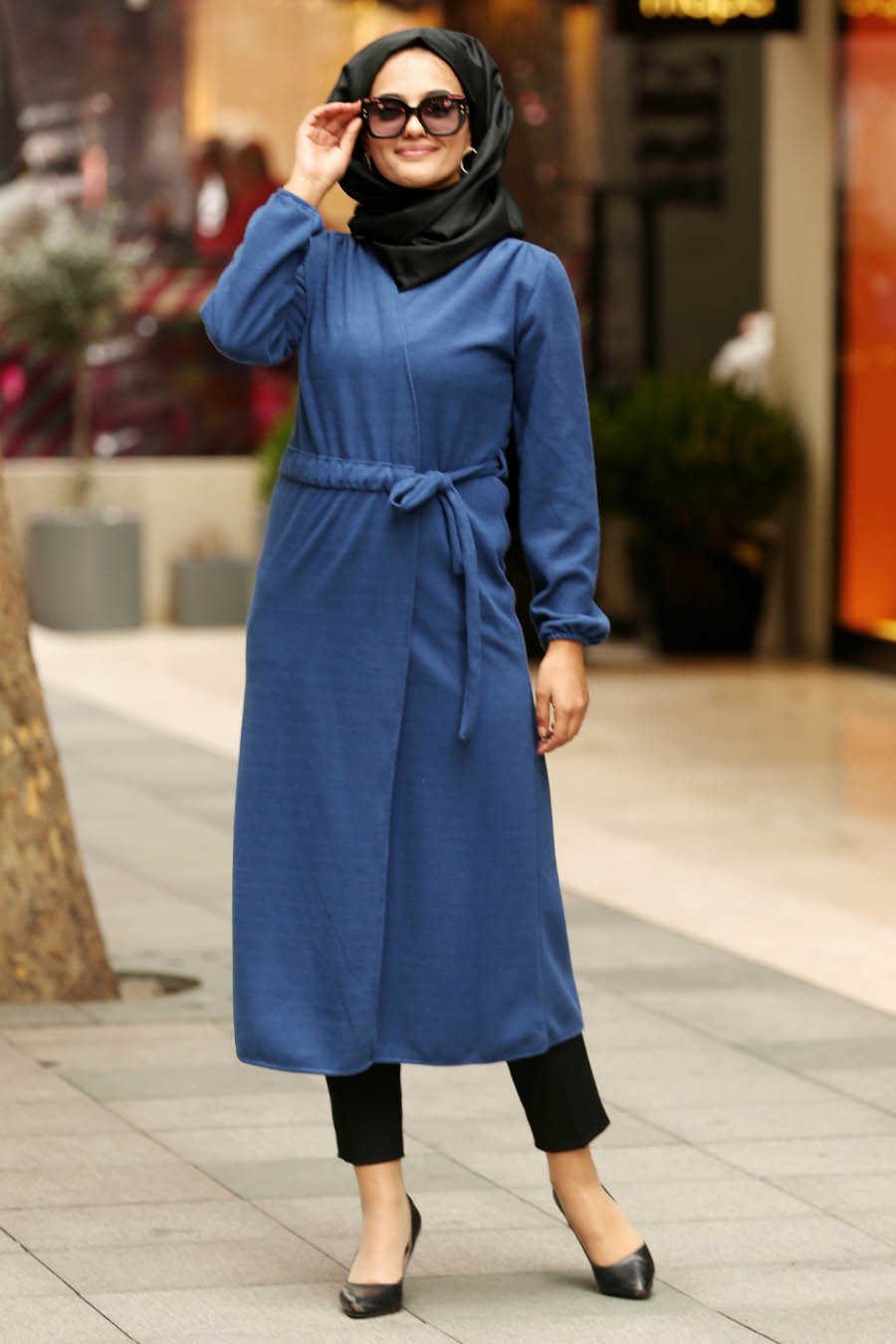 Indigo Blue Hijab Coat 2473IM