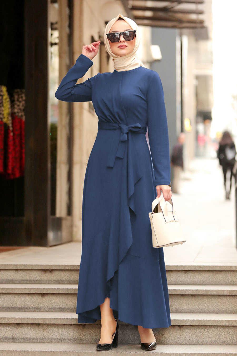 İndigo Mavisi Tesettür Çapraz Elbise 4041IM