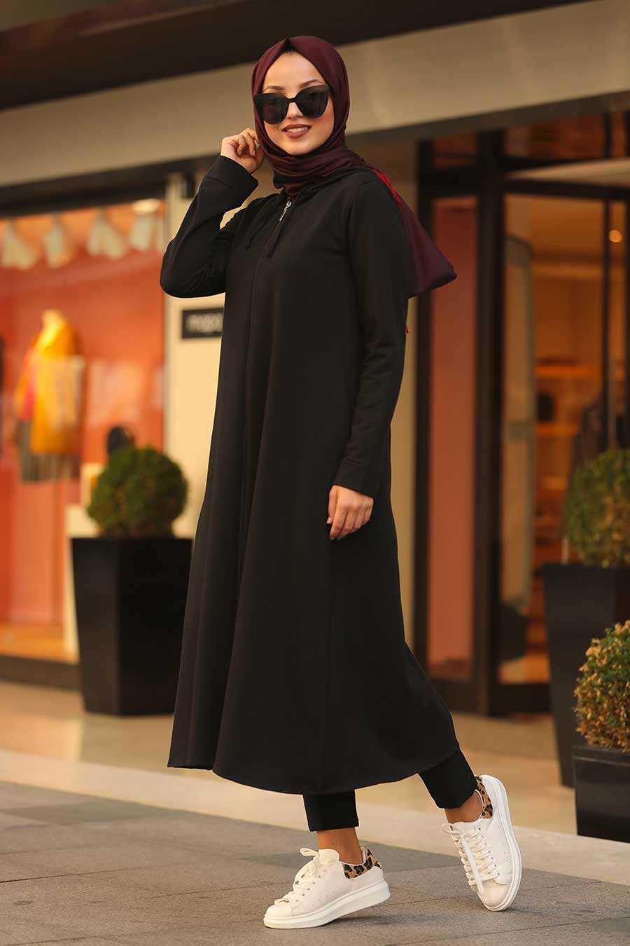 Kapşonlu Siyah Tesettür Tunik 22560S