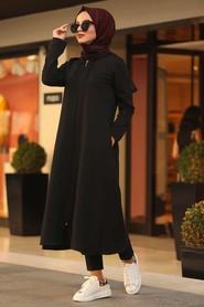 Kapşonlu Siyah Tesettür Tunik 22560S - Thumbnail