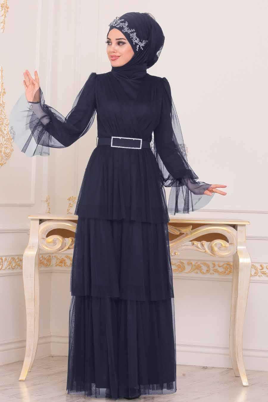 Kemerli Lacivert Tesettür Abiye Elbise 39420L