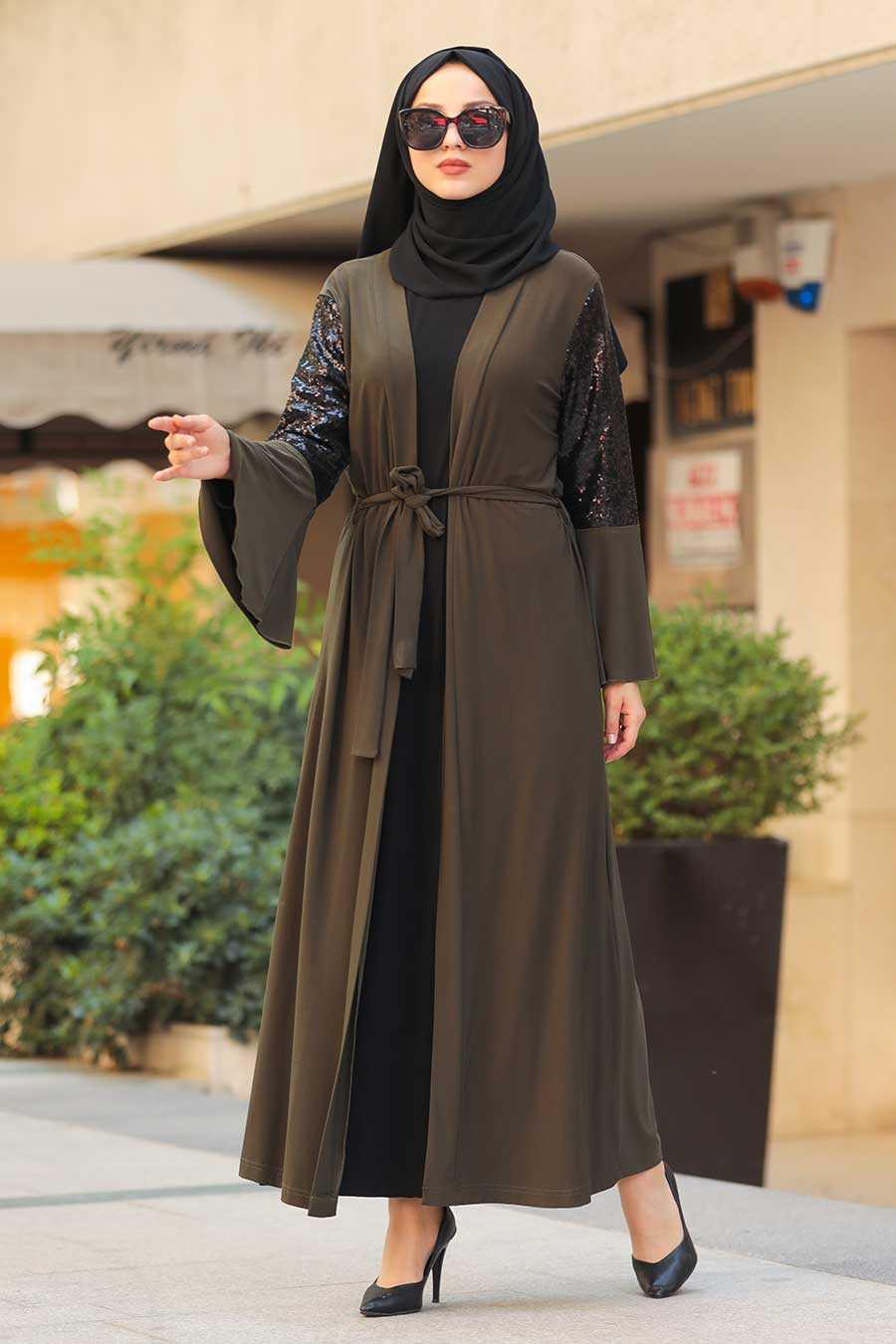 Khaki Hijab Abaya 6310HK