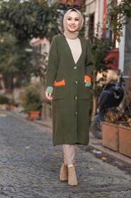 Khaki Hijab Cardigan 20103HK - Thumbnail