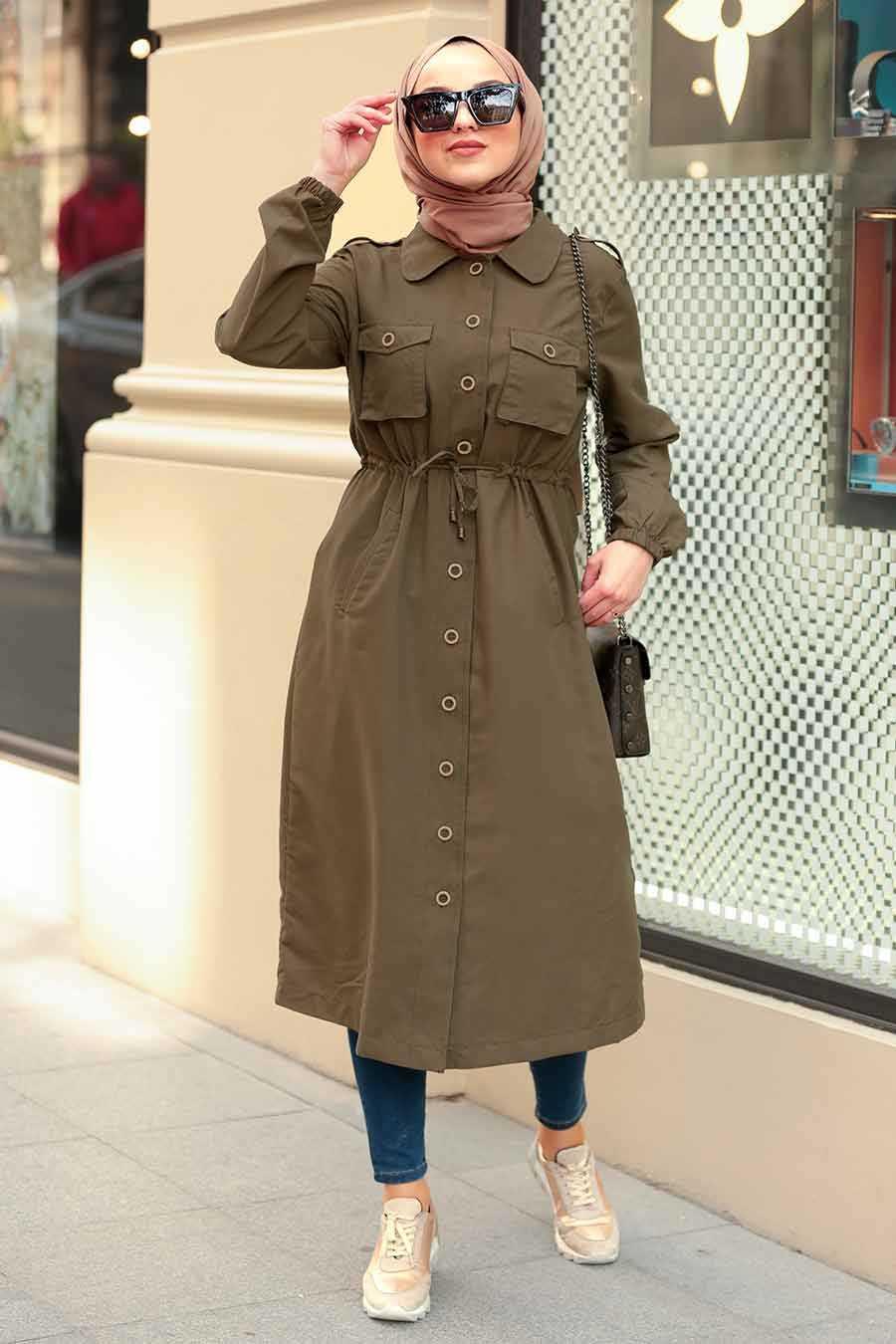 Khaki Hijab Coat 5671HK