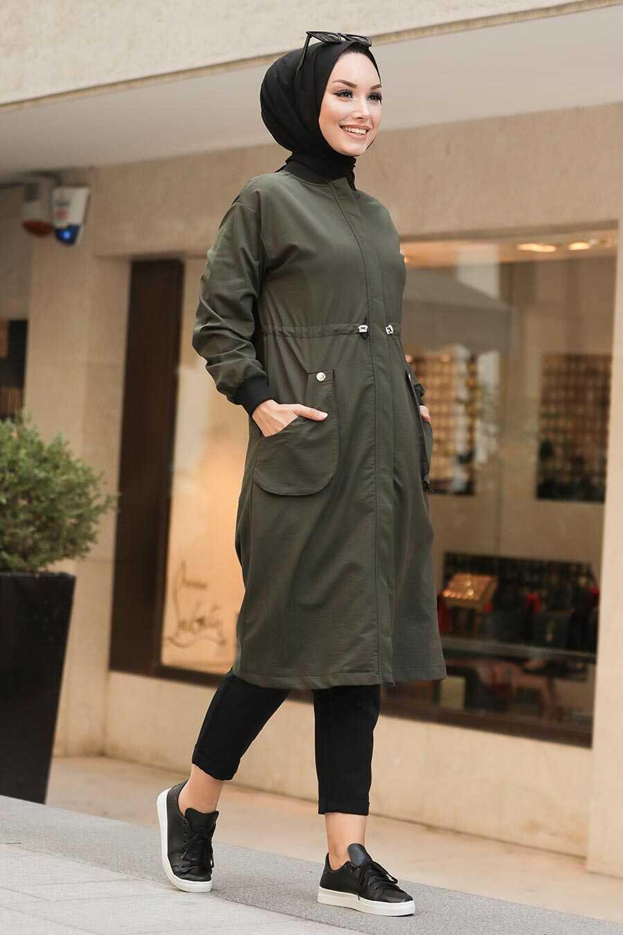 Khaki Hijab Coat 8874HK