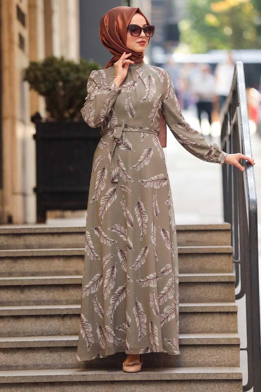 Khaki Hijab Daily Dress 81540HK