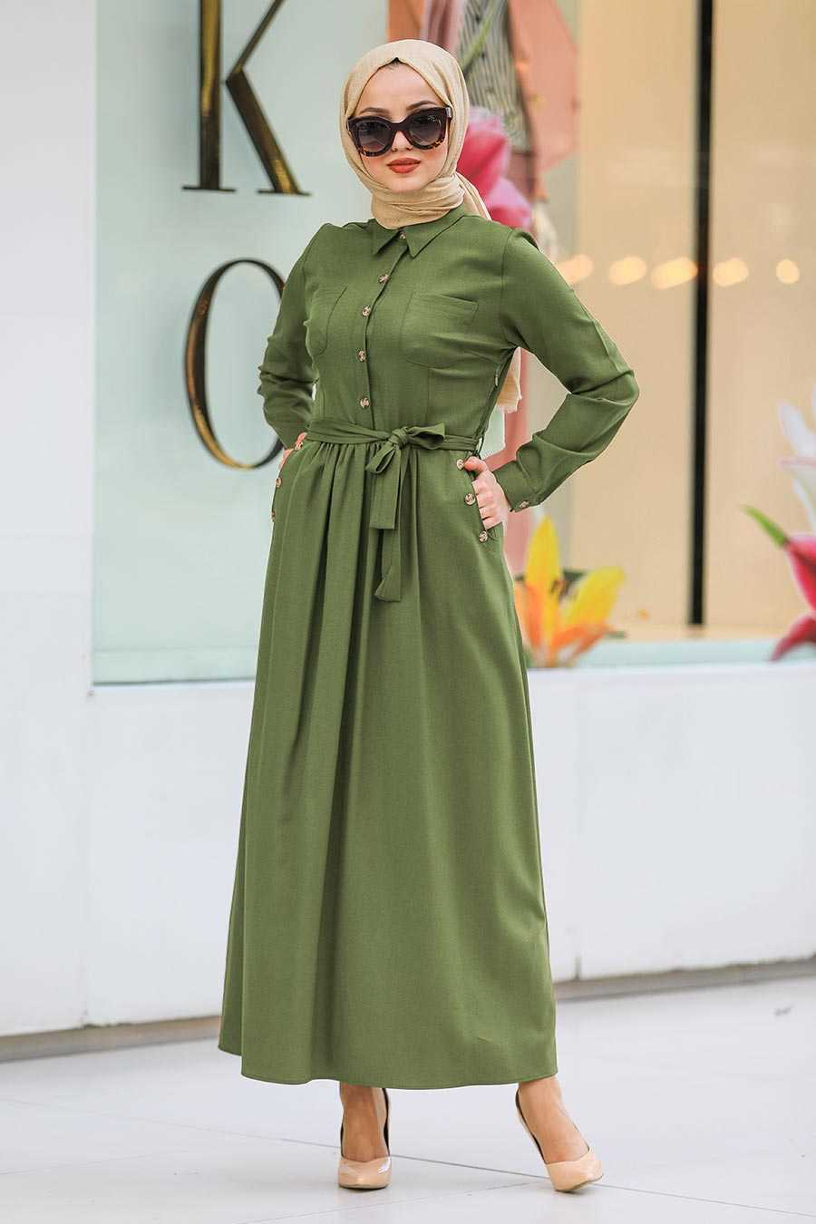 Khaki Hijab Dress 462HK