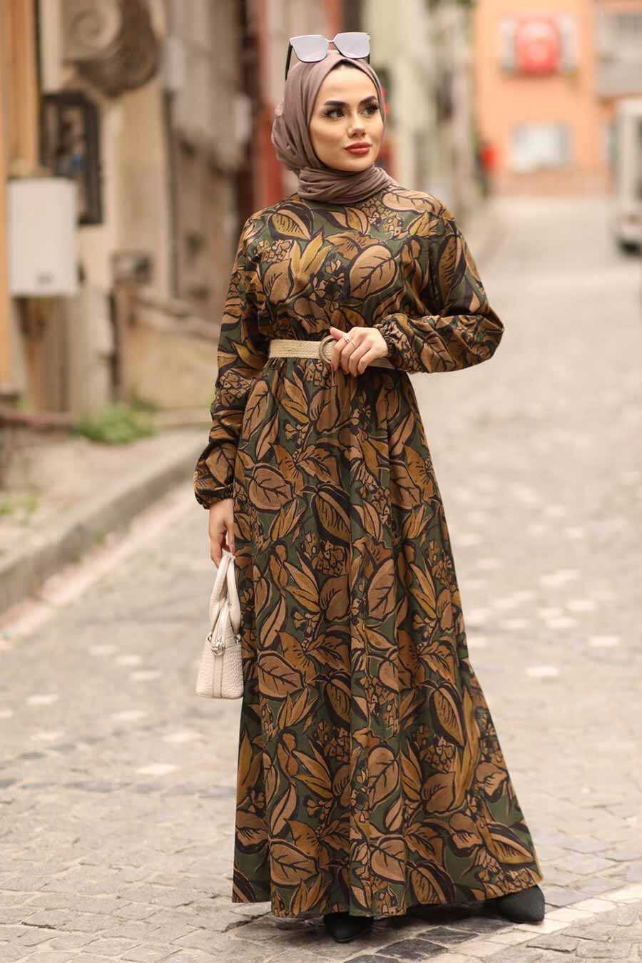 Khaki Hijab Dress 4677HK
