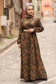 Khaki Hijab Dress 4677HK - Thumbnail