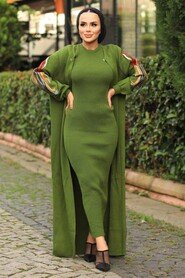 Khaki Hijab Dual Suit Dress 2200HK - Thumbnail