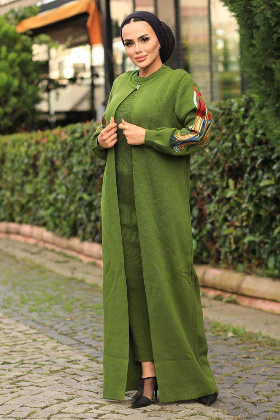 Khaki Hijab Dual Suit Dress 2200HK