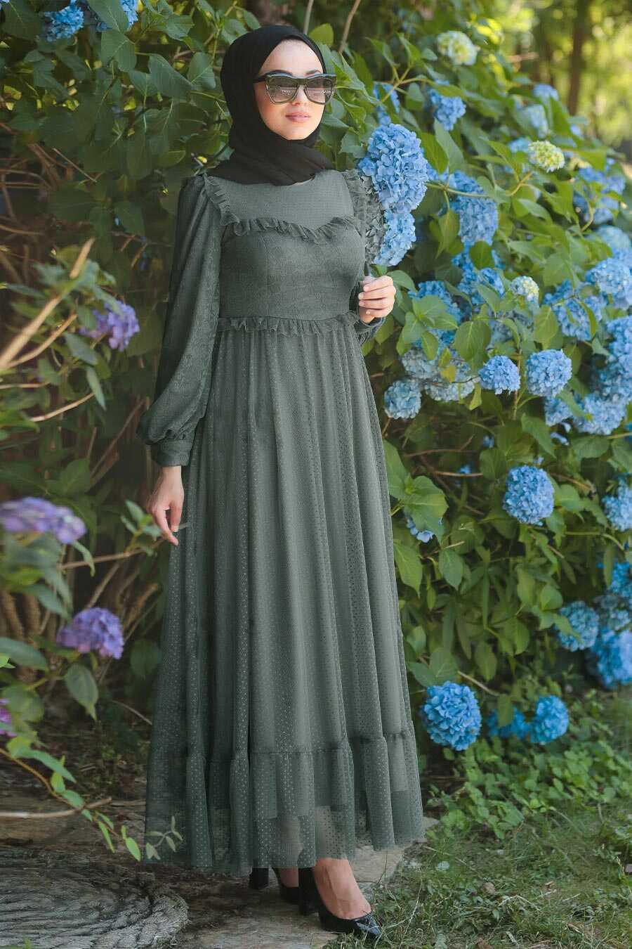 Khaki Hijab Evening Dress 38730HK