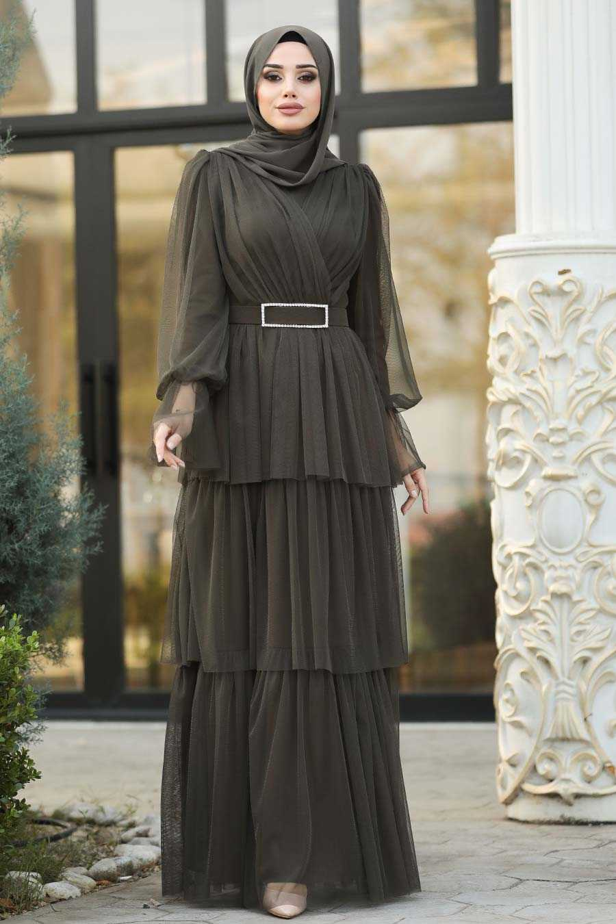 Khaki Hijab Evening Dress 39420HK