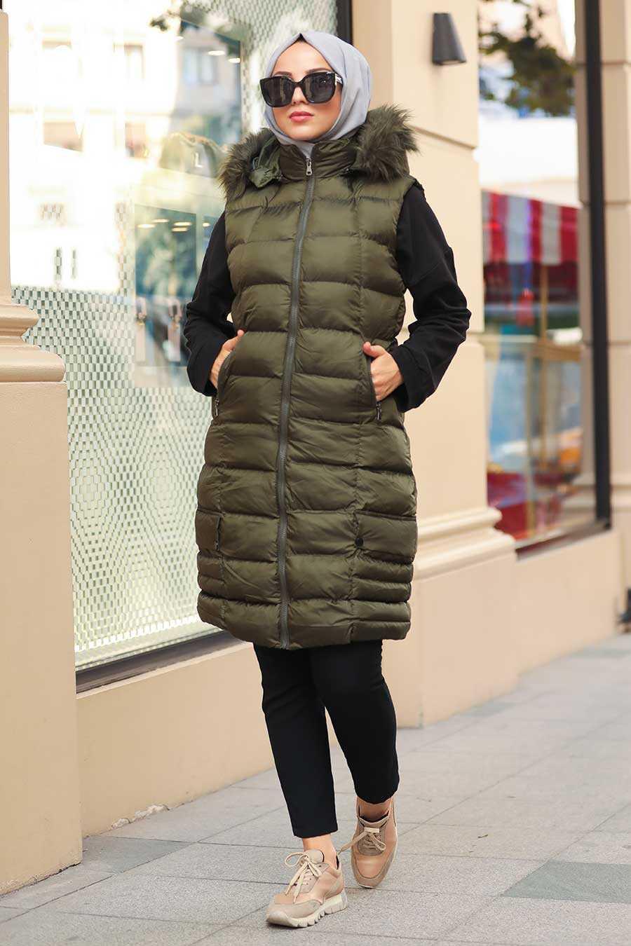 Khaki Hijab İnflatable Vest 1362HK