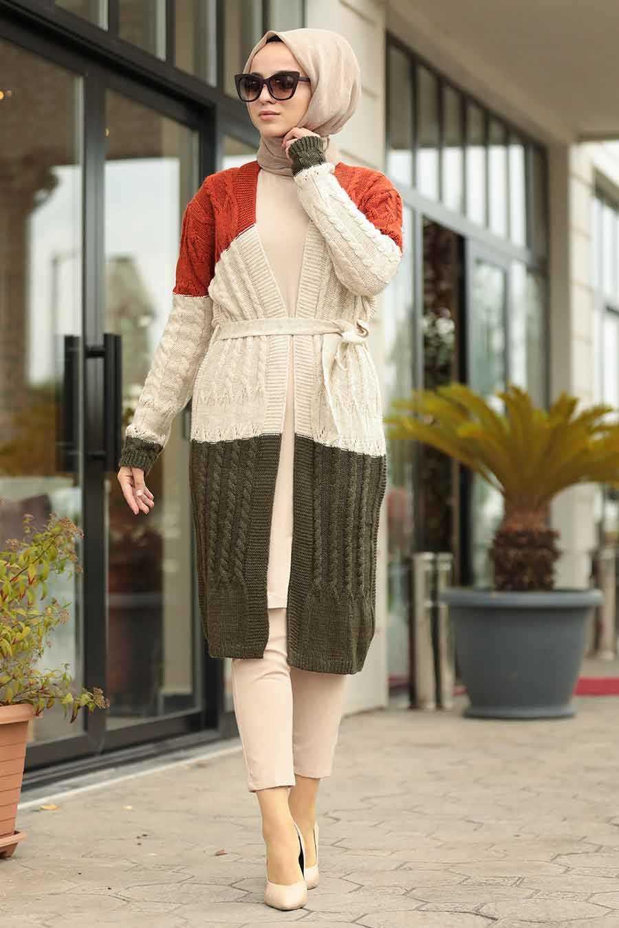 Khaki Hijab Knitwear Cardigan 20150HK