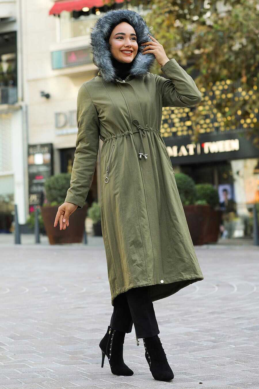 Khaki Hijab Parka Coat 9068HK