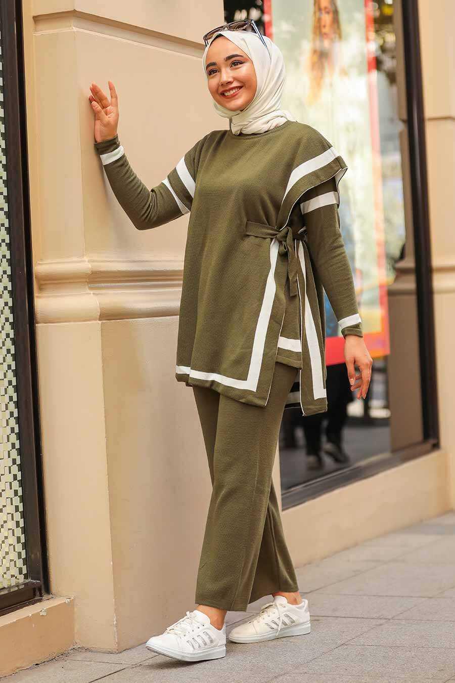 Khaki Triple Suit Dress 20075HK