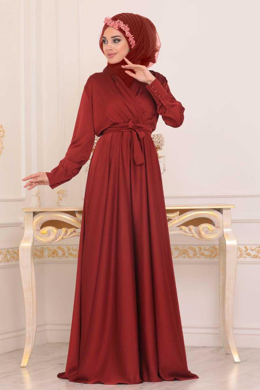 Kiremit Tesettür Abiye Elbise 1418KRMT