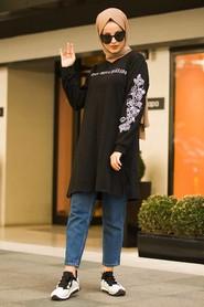 Kolları Detaylı Siyah Tesettür Tunik 41240S - Thumbnail