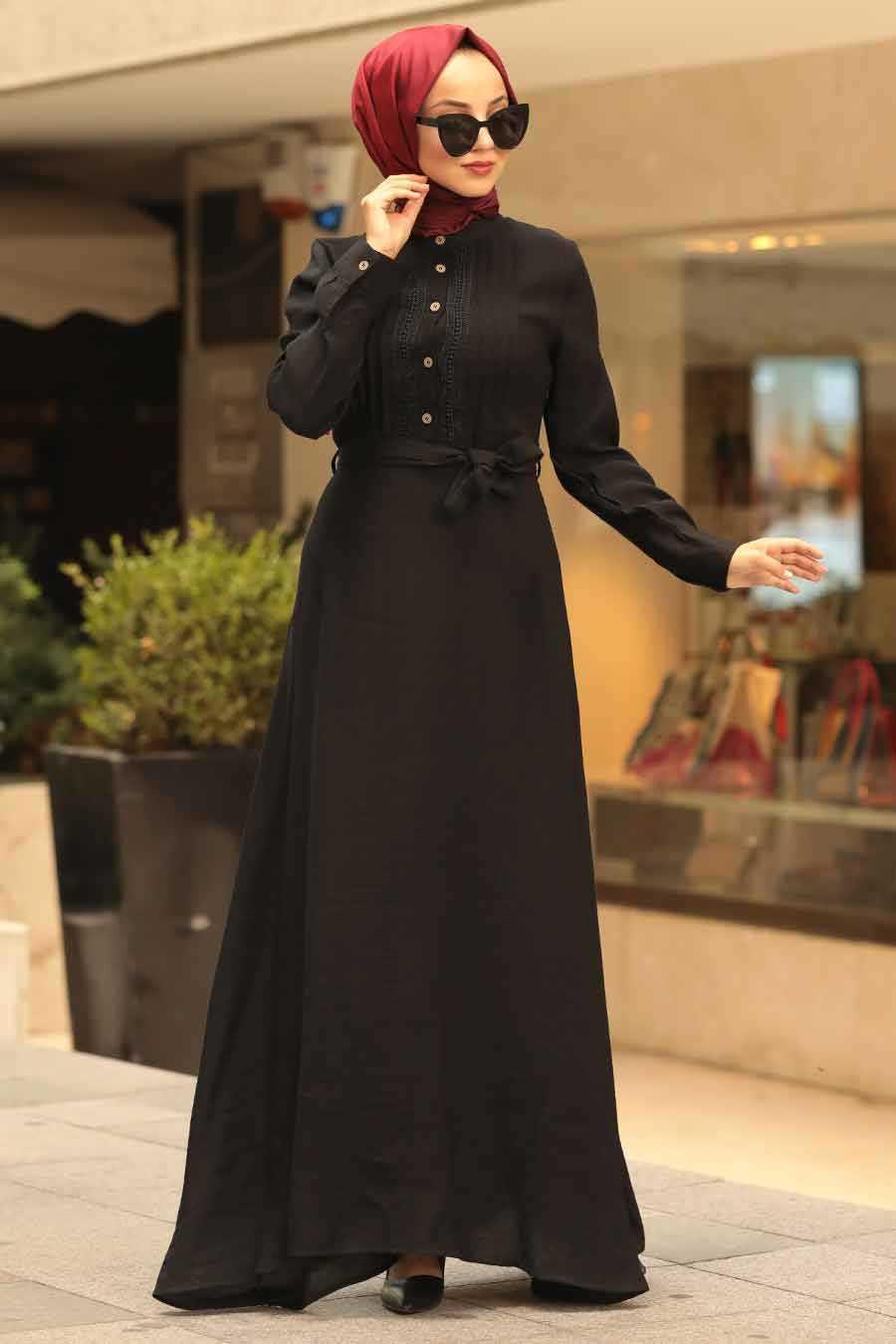 Kuşaklı Siyah Tesettür Elbise 39710S
