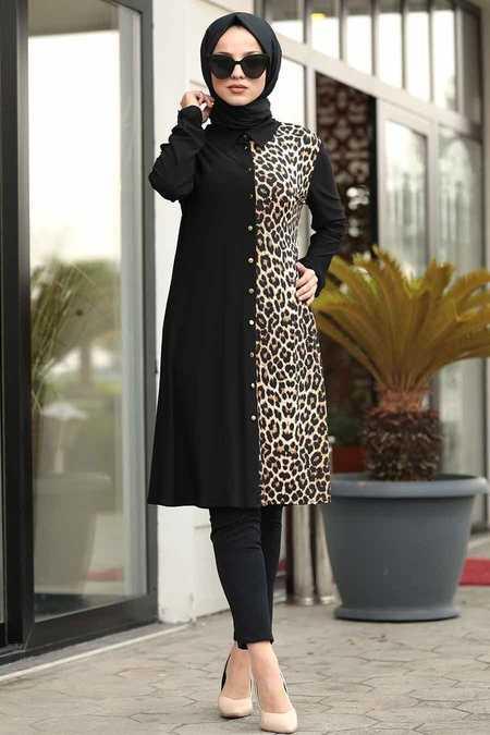 Leopar Detaylı Siyah Tesettür Tunik 4989S