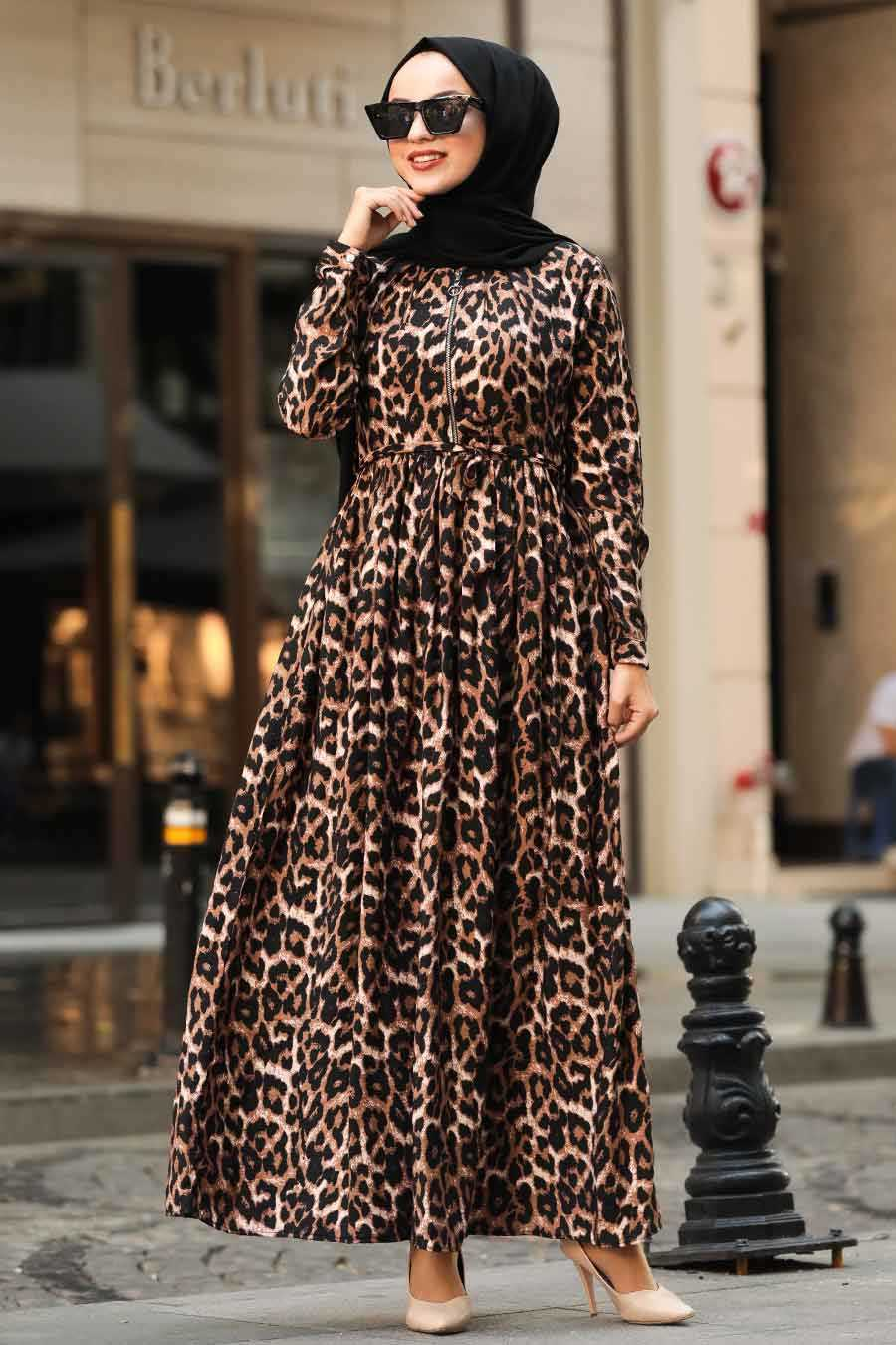 Leopard Pattern Hijab Dress 3997LP