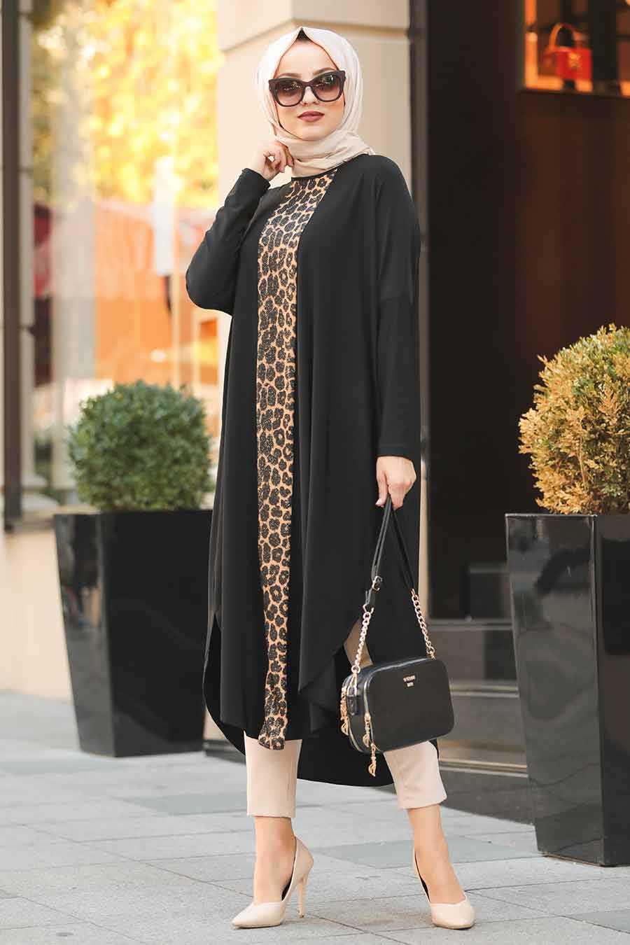 Leopard Patterned Black Hijab Tunic 4846S