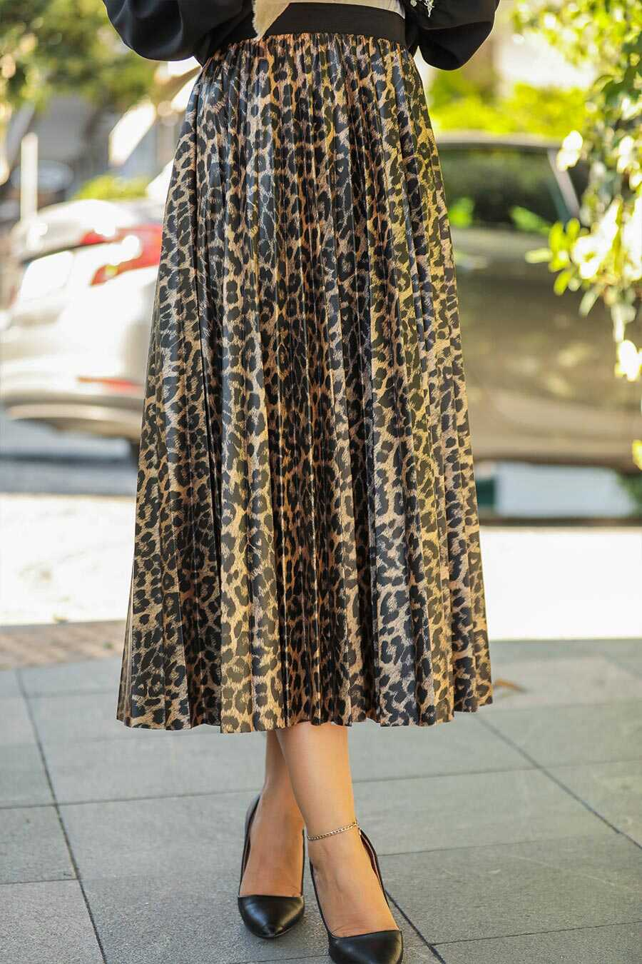 Leopard Patterned Hijab Skirt 12910LP