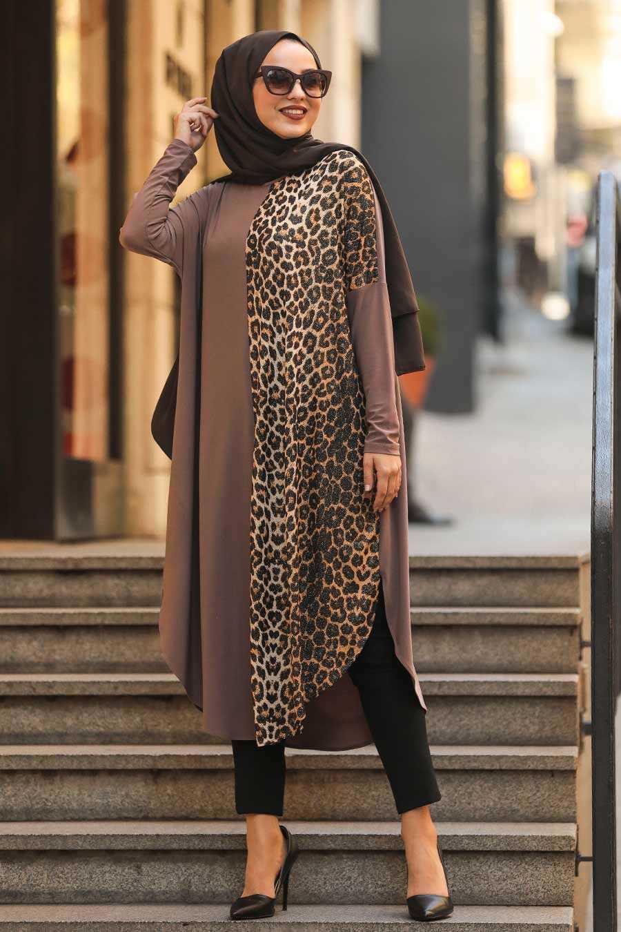 Leopard Patterned Mink Color Hijab Tunic4968V