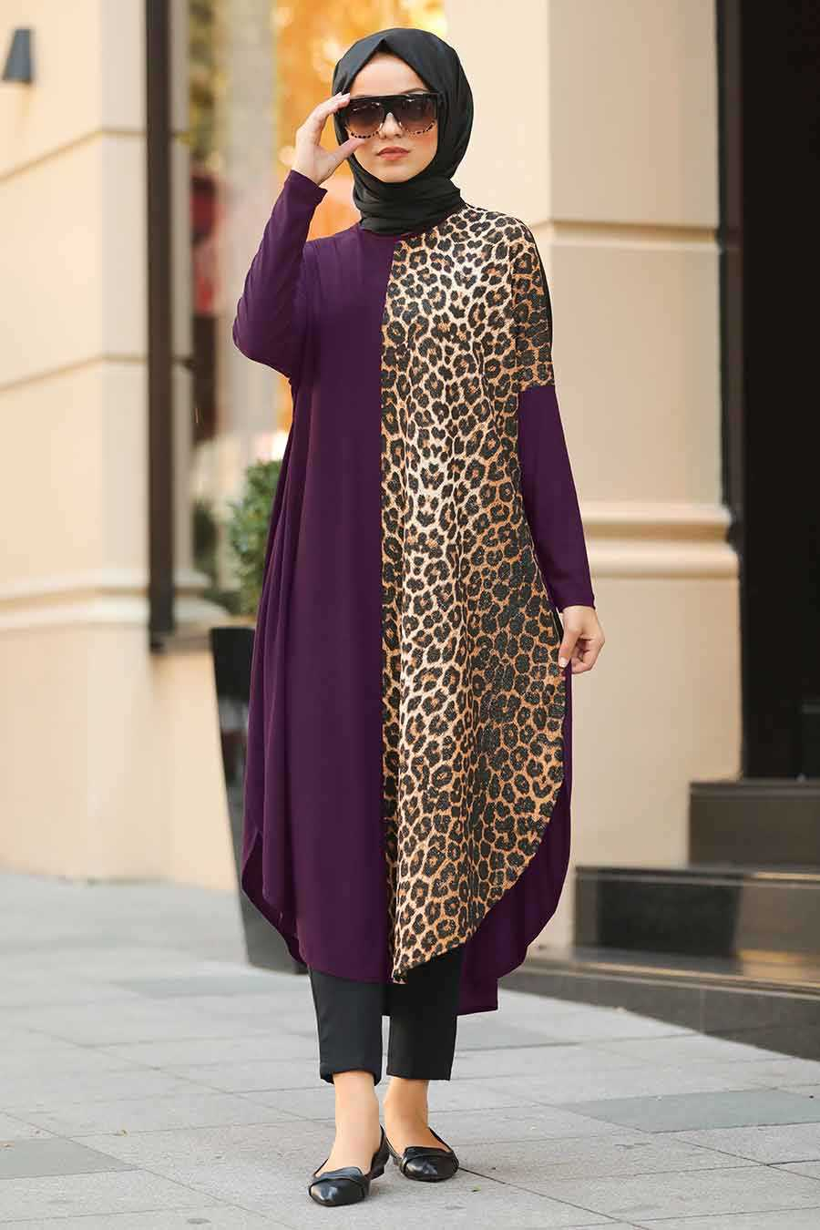 Leopared Patterned Purple Hijab Tunic 4968MOR