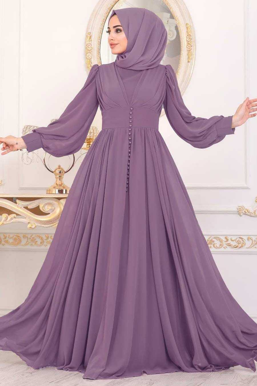 Lika Hijab Evening Dress 41011LILA