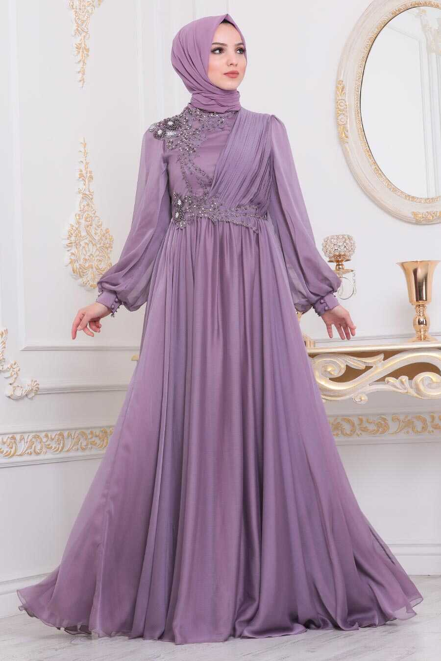 Lila Hijab Evening Dress 21650LILA