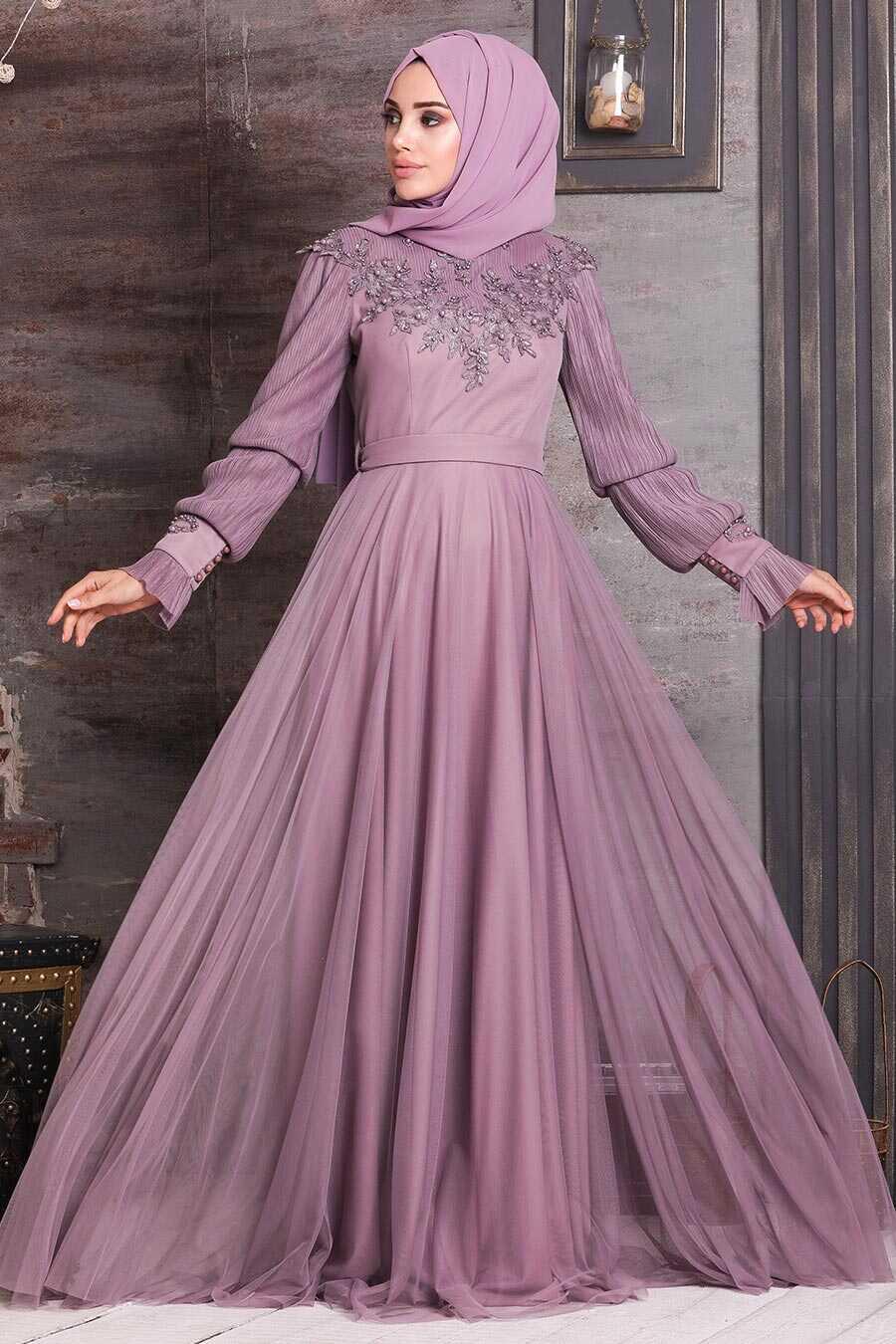 Lila Hijab Evening Dress 21780LILA