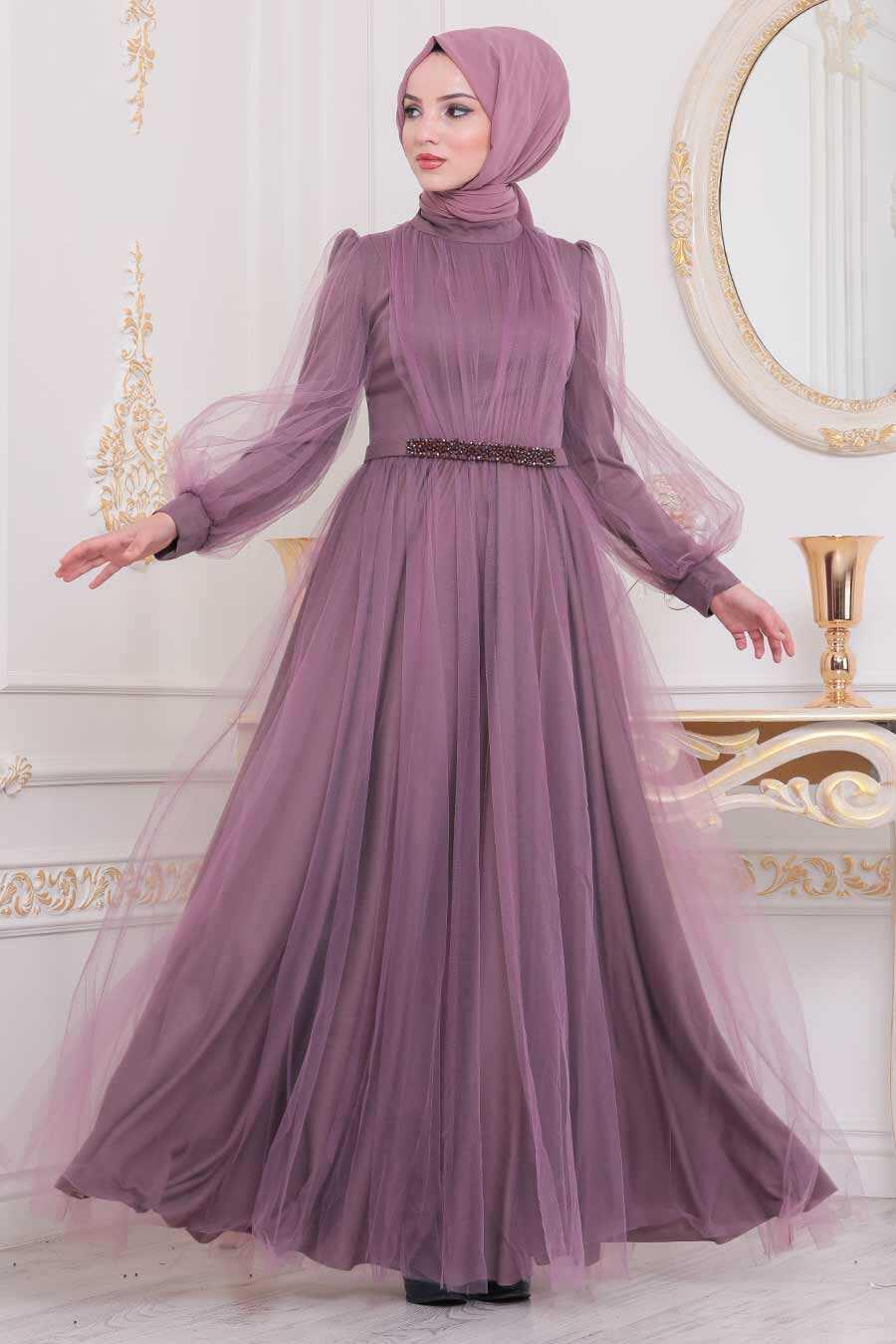 Lila Hijab Evening Dress 40020LILA