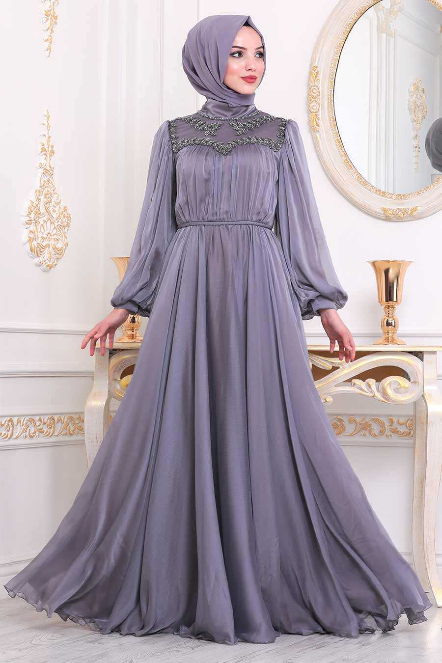Lila Hijab Evening Dress 40560LILA
